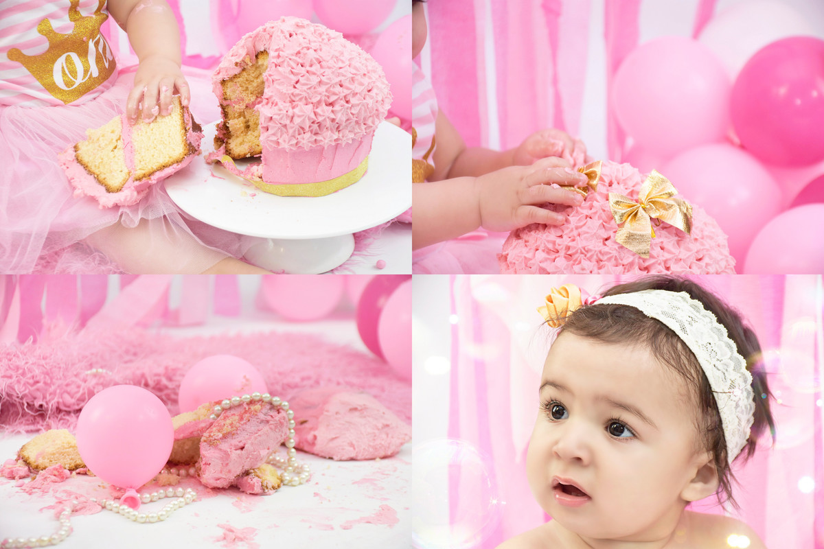 Pink princess cake smash in the Melbourne