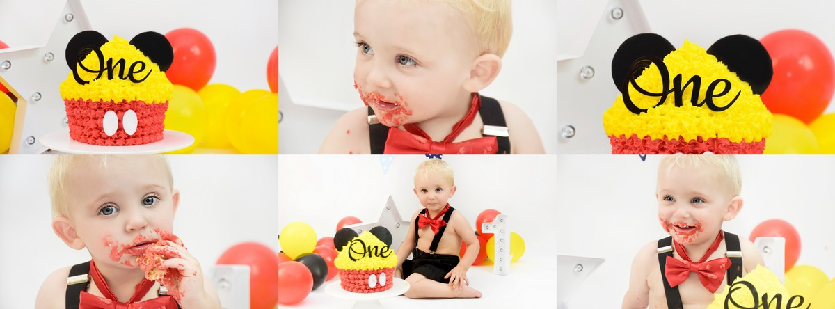 Micky mouse cake smash by Hannah Elizabeth Mickey mouse themed